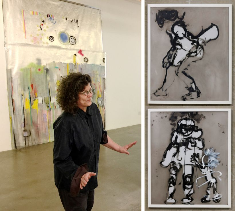 Left: Kim Dingle in front of work from her show <em>YIPES</em> at Susanne Vielmetter Los Angeles Projects. Photo by Edward Go