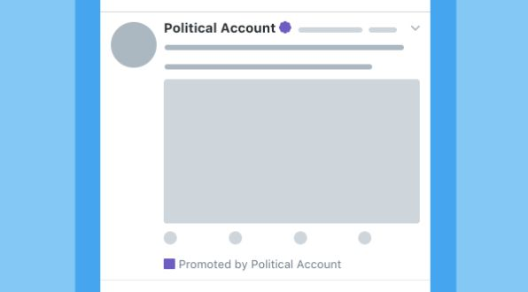 Twitter is considering using badges -- purple in this example -- to more clearly identify political ads on the network.