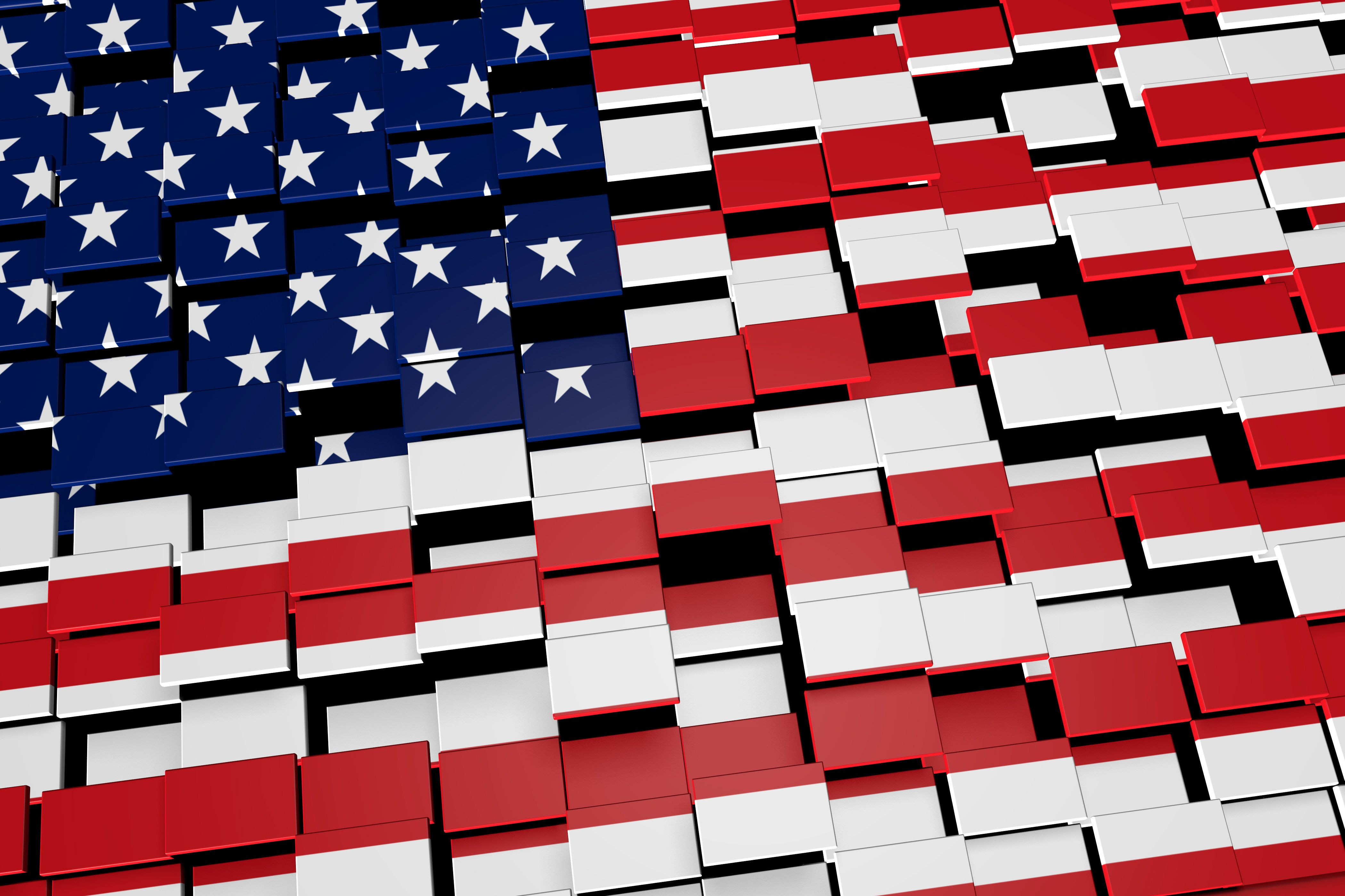 Modern 3D rendered concept of numerous square tiles sliding together to form the national flag of the United States.