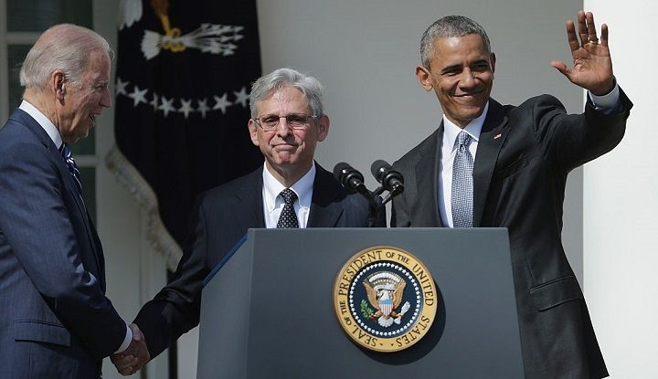 President Barack Obama and Vice President Joe Biden stand with Judge Merrick Garland, Obama's pick to replace Antonin Scalia