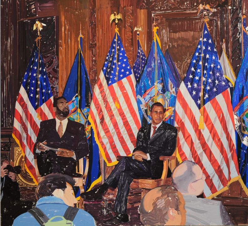 Peter Krashes, Governor and Flags, gouache on paper, 56.5 x 63 inches