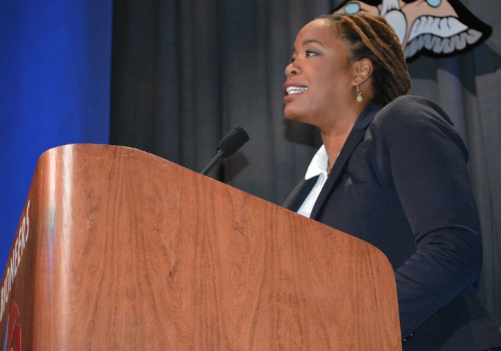 <i>Heather McGhee, President, Dēmos, delivering keynote address to the Bioneers Conference, October 21, 2017 at the Veterans
