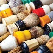 A bright compilation of vintage shaving brushes.