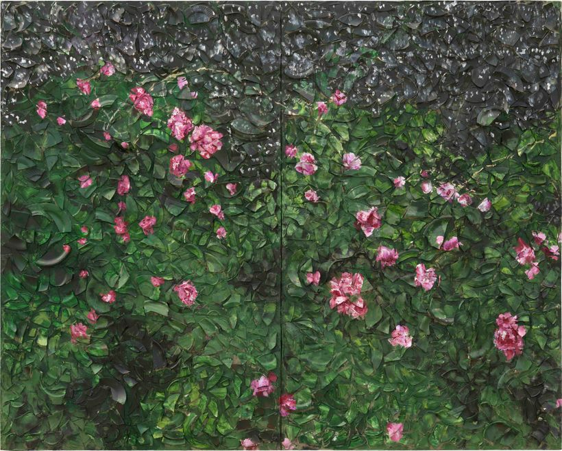 <strong>Julian Schnabel       </strong><em>Rose Painting (Near Van Gogh's Grave*) X</em>, 2016      Oil, plates and bondo