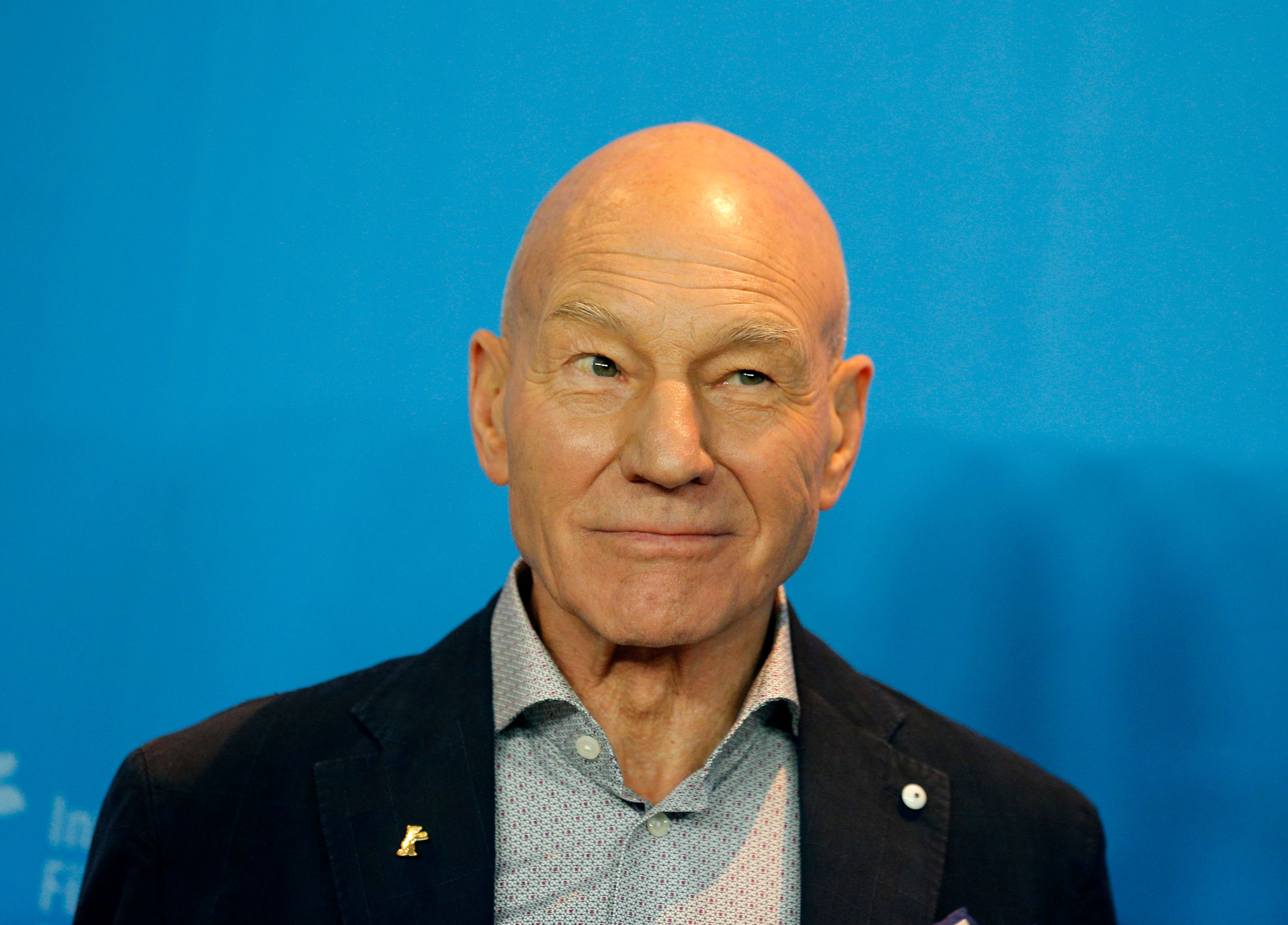 Actor Patrick Stewart poses during a photocall to promote the movie 'Logan' at the 67th Berlinale International Film Festival in Berlin, February 17, 2017.        REUTERS/Axel Schmidt