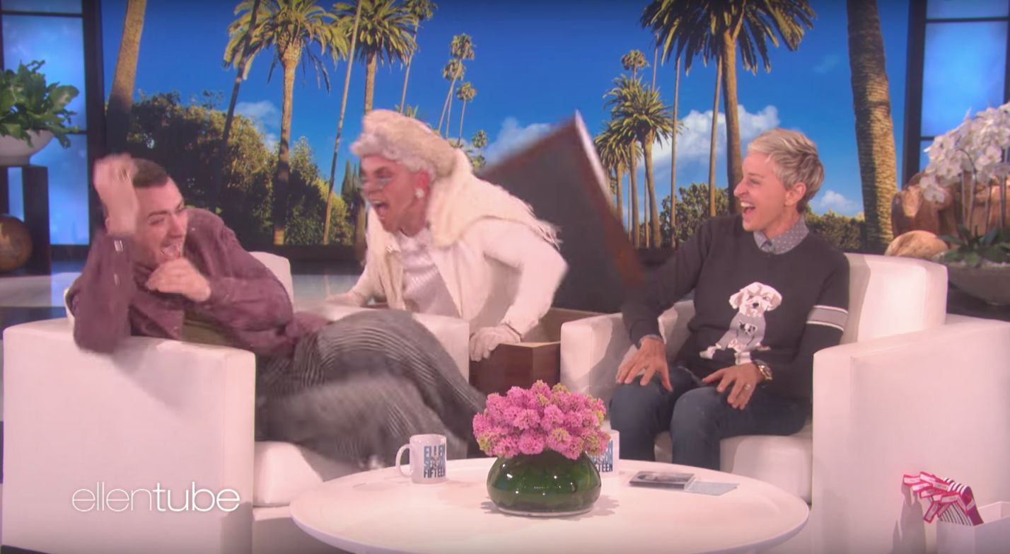 British pop star Sam Smith was nearly scared out of chair during an appearance on Ellen