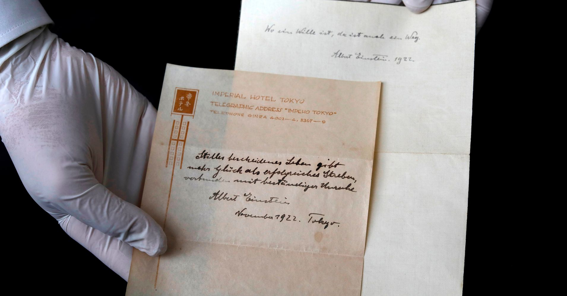 Albert Einsteins Note On The Secret To Happiness Sells For 156
