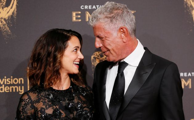Bourdain and Argento at the Emmys on Sept. 9,