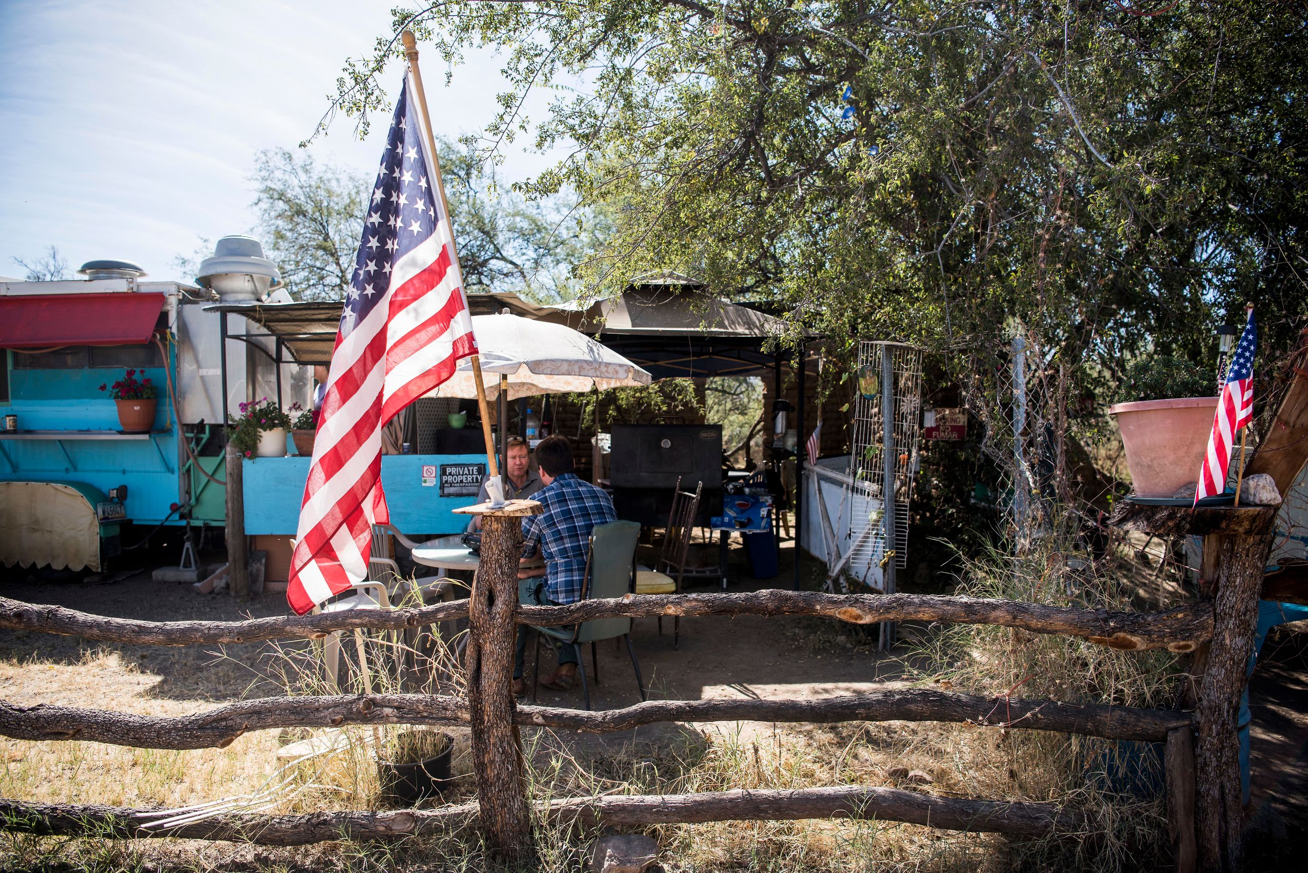 """An American flag sits in front of the """"La Rancherita"""" restaurant in Arivaca, Arizona. Some residents of the small town want t"""