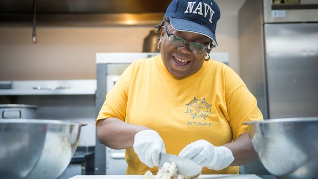 ST. LOUIS, MO. - AUGUST 31:  Kat 'Mama Kat' Daniels works to prepare food for the homeless as a part of her 'PotBangerz' food outreach at the First Congregational Church on August 31, 2017 in St. Louis, Missouri. (Photo by Michael B. Thomas for Huffington Post)