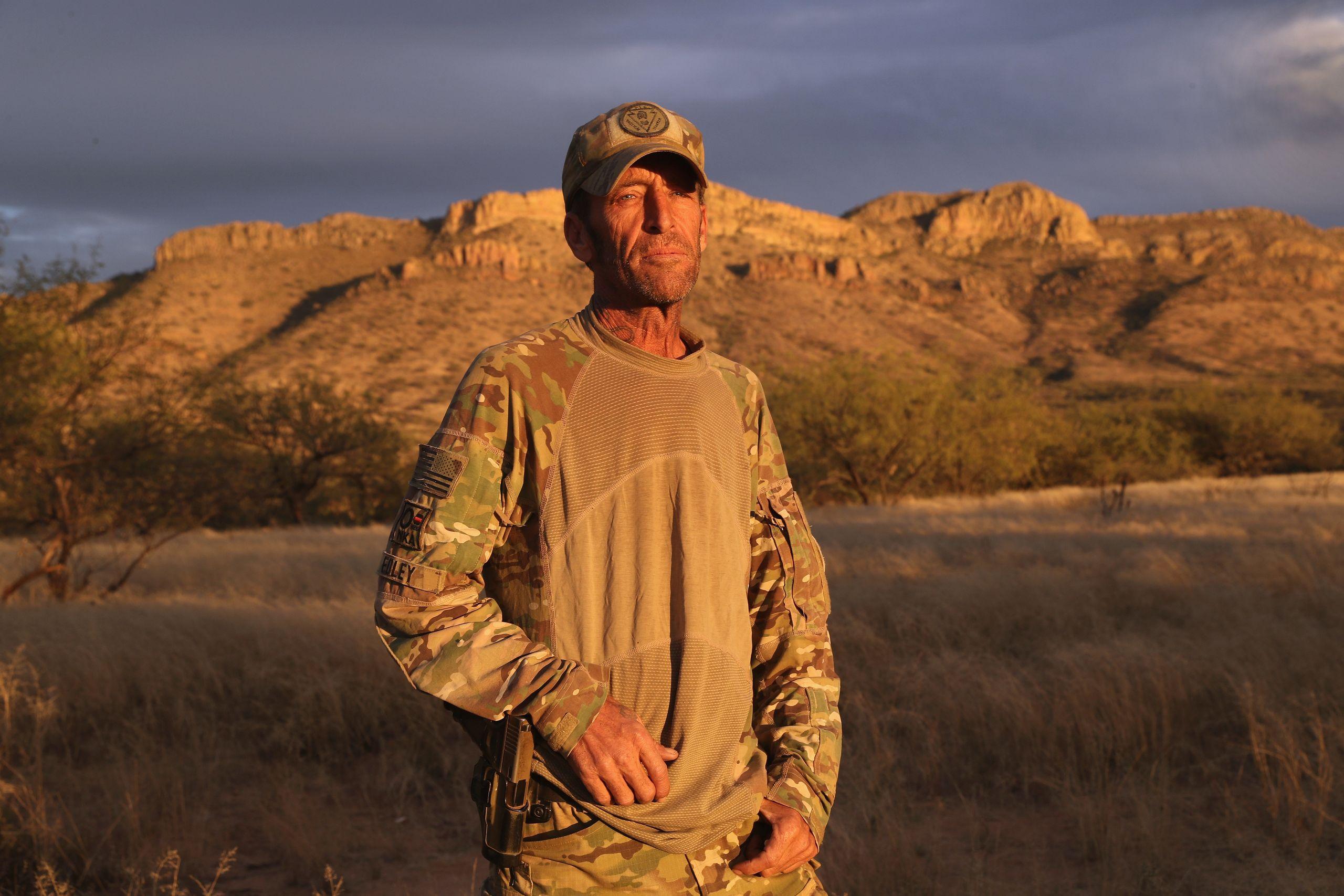 Tim Foley stands in camp near the U.S.-Mexico border onNov. 16, 2016, in Pima County, Arizona.
