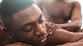 homosexual couple relaxing togetherness and sharing a massage