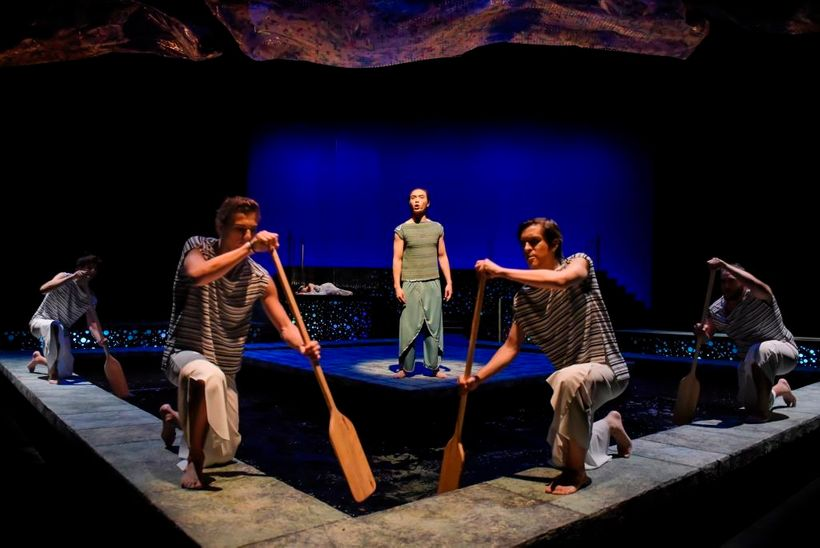 Ceyx (Tri Le) makes a sea voyage, leaving behind his queen Alcyone in a scene from <strong><em>Metamorphoses</em></strong>