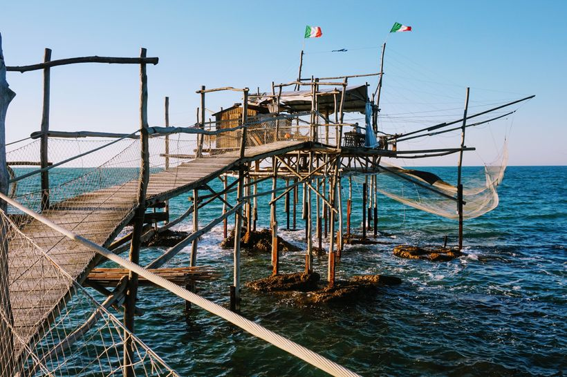 A trabocco that now doubles as a restaurant, along Abruzzo's Costa dei Trabbochi