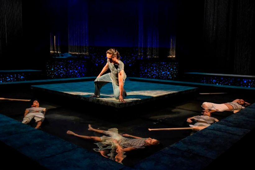Poseidon's attack on Ceyx's (Tri Le) ship proves fatal in a scene from <strong><em>Metamorphoses</em></strong>