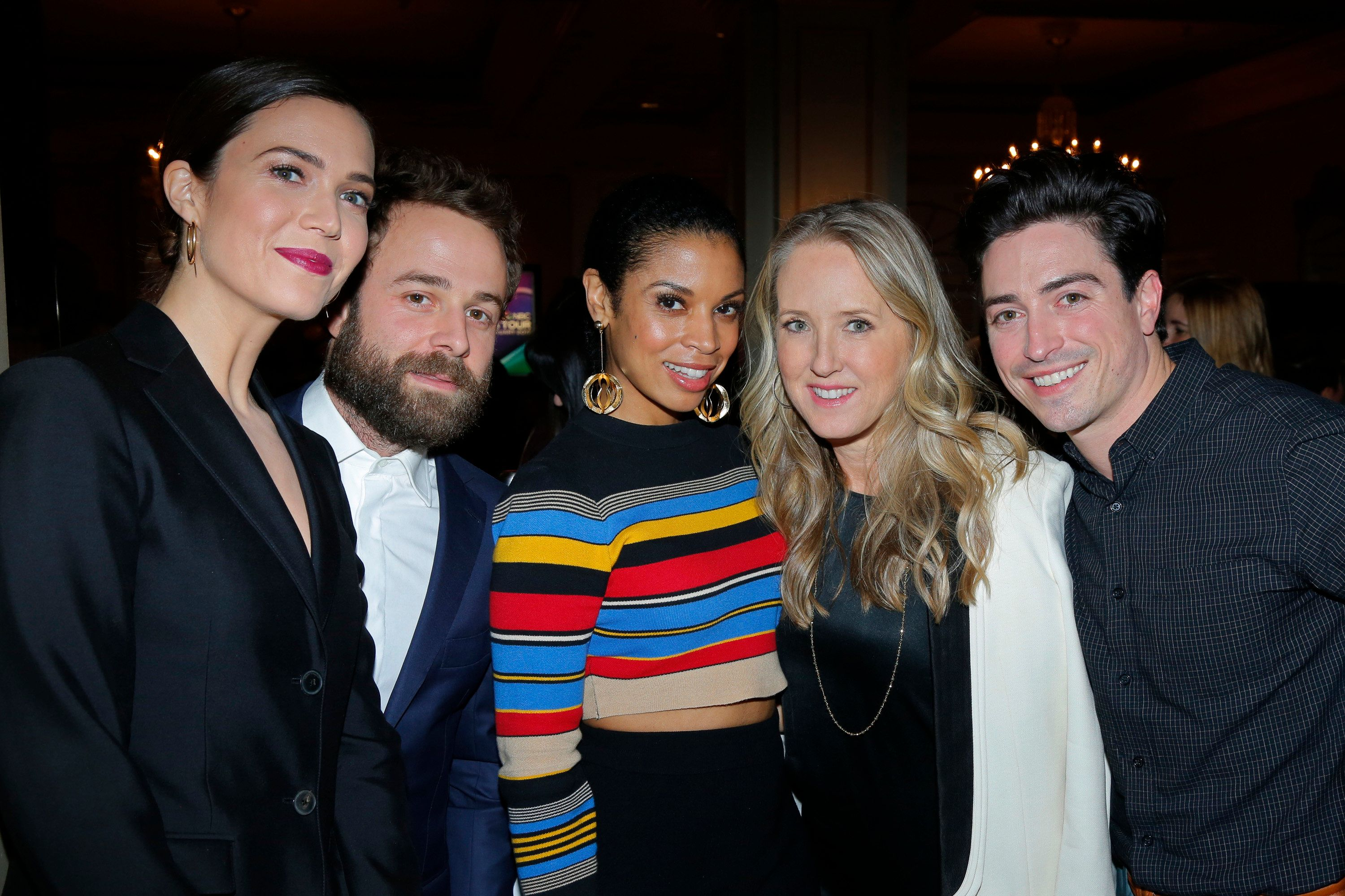 NBCUNIVERSAL EVENTS -- NBCUniversal Press Tour, January 2017 -- NBCUniversal Party -- Pictured: (l-r) Mandy Moore, 'This Is Us'; Taylor Goldsmith, Susan Kelechi Watson, 'This Is Us'; Jennifer Salke, President, NBC Entertainment; Ben Feldman, 'Superstore' -- (Photo by: Paul Drinkwater/NBC/NBCU Photo Bank via Getty Images)