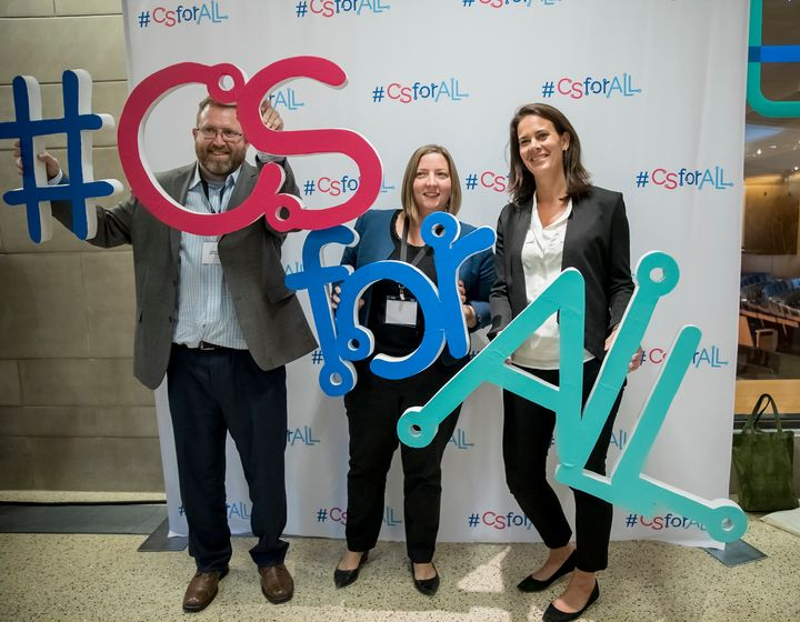 """<p><em>Josh Sheldon, Director of Programs for MIT App Inventor, Colleen Devery, Assistant Vice President, Strategic Initiatives and Administration for NAF, and Suzie Koonce, Community and Government Partnership Manager for Lenovo celebrating the </em><a href=""""http://news.lenovo.com/news-releases/lenovo-naf-and-mit-app-inventor-recognized-at-csforall-summit-2017.htm"""" target=""""_blank"""" role=""""link"""" rel=""""nofollow"""" data-ylk=""""subsec:paragraph;itc:0;cpos:__RAPID_INDEX__;pos:__RAPID_SUBINDEX__;elm:context_link"""">Lenovo Scholars Network</a> at the CSforALL Summit 10/17/17.</p>"""