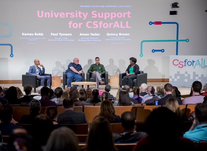 <p><em>Dr. Kamau Bobb, Georgia Institute of Technology, Dr. Paul Tymann, Rochester Institute of Technology, and Dr. Aman Yadav, Michigan State University discuss university support for CSforALL with Dr. Quincy Brown of the American Association for the Advancement of Science</em></p>