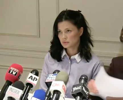 Actress and model Natassia Malthe speaks out against Harvery Weinstein during a news conference on Wednesday.