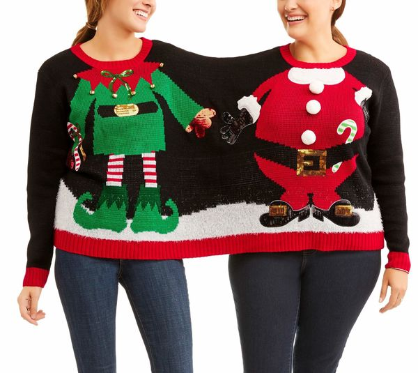 "This is a <a href=""https://www.walmart.com/ip/Holiday-Time-Women-s-Ugly-Christmas-Sweater-Elf-Santa-Double/960351362"" target="