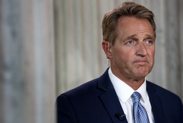 Sen. Jeff Flake (R-Ariz.) looking sad, after he announced he's not running for re-election. He said he's bowing out