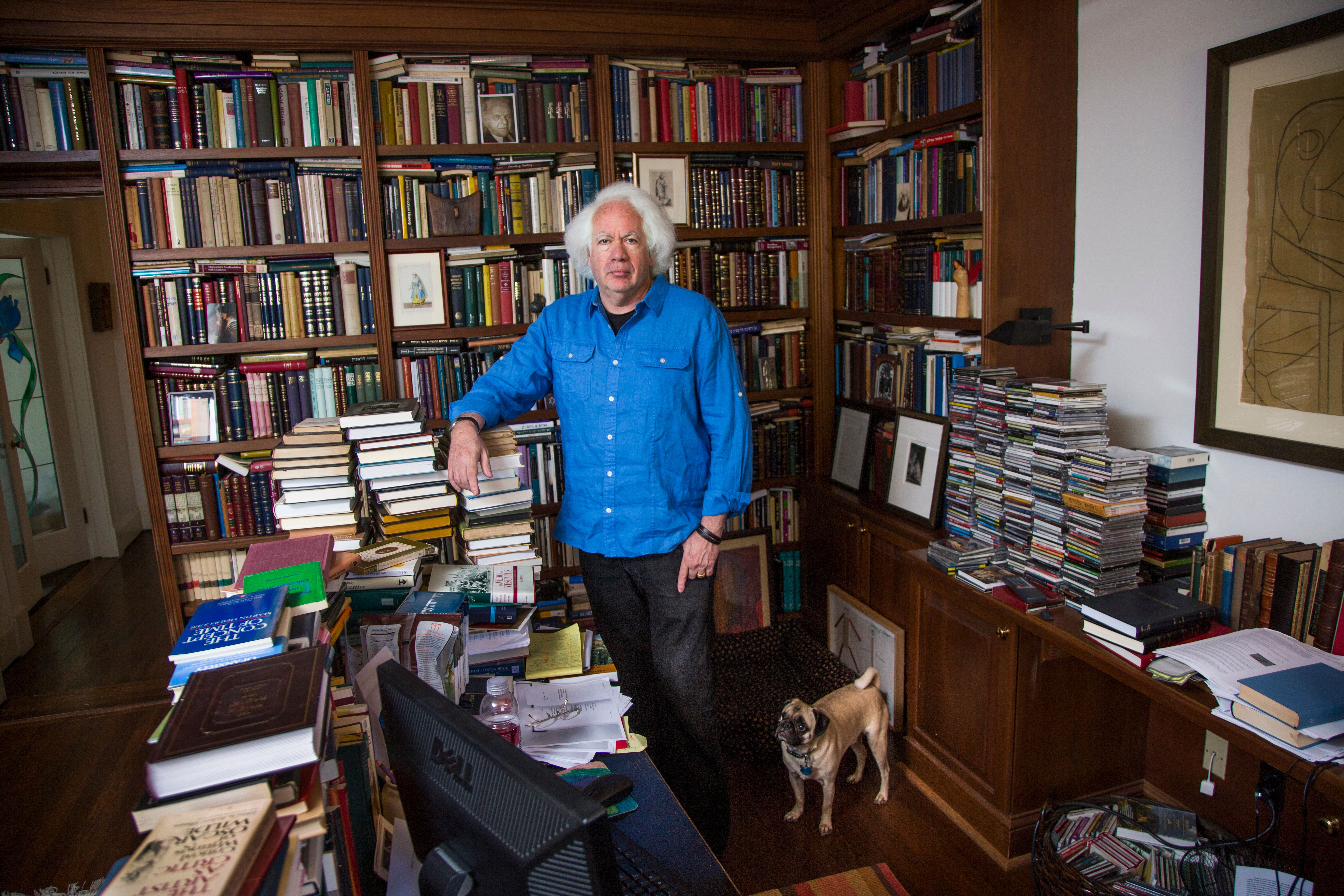 American author and literary critic Leon Wieseltier at his home in Washington, DC. Wieseltier is the long-serving literary editor at the New Republic has won the Israel Dan David Prize Board in 2013 for being 'a foremost writer and thinker who confronts and engages with the central issues of our times, setting the standard for serious cultural discussion in the United States.' (Photo by Brooks Kraft LLC/Corbis via Getty Images)