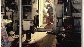 Shuffletons Barbershop Norman Rockwell 1950
