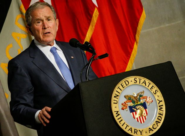 Former U.S. President George W. Bush speaks after being honored with the Sylvanus Thayer Award at the...