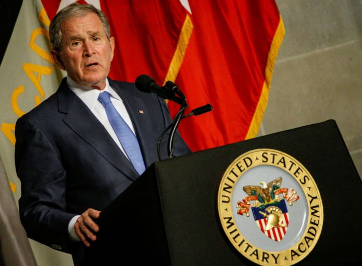 Former U.S. President George W. Bush speaks after being honored with the Sylvanus Thayer Award at the United States Military