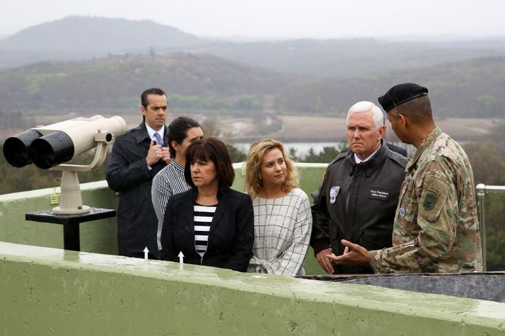 Vice President Mike Pence looks across to the north side of the border at the truce village of Panmunjom in the Demilitarized