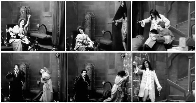 THE SEALED ROOM (1909). Marion Leonard (the Countess), Henry Walthal (the Minstrel), Arthur V. Johnson (the King)