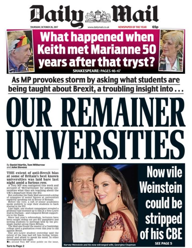 The Daily Mail launched a cutting attack on 'Remainer universities' on today's front