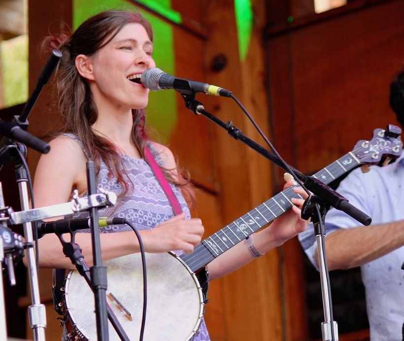 Ruth Moody of the Wailin' Jennys plays the banjo at the Rocky Mountain Folks Festival in August.
