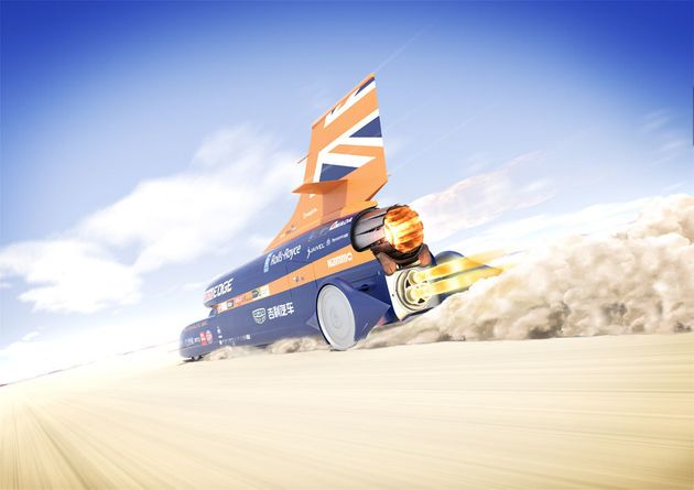 Supersonic Bloodhound auto  in first public test before world record attempt