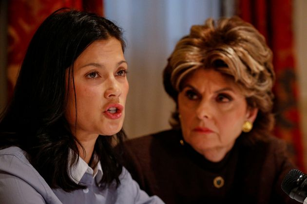 Natassia Malthe, with lawyer Gloria Allred during a news conference in New York