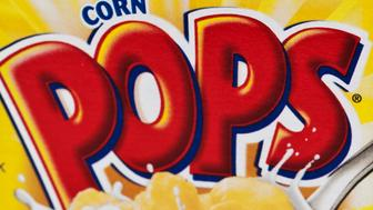 Miami, Florida,USA - March 6, 2011: 0.95 ozs carton box of kelloggs brand Corn Pops cereal on white background. Kelloggs is a US company manufacturers of different kind of cereals.
