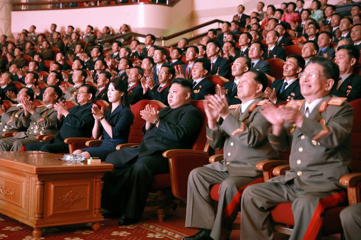 An undated photo of North Korean leader Kim Jong Un (center), released by North Korea's official Korean Central New