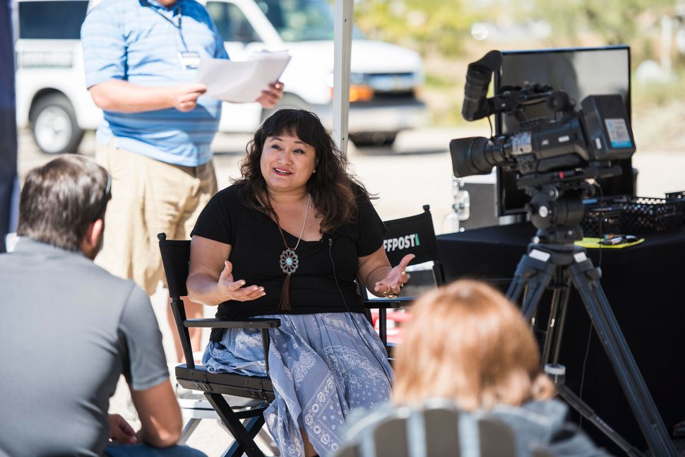 HuffPost's Jen Kho is interviewed by television station KMID in Odessa.