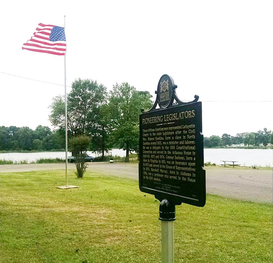 This bronze marker that recognized the lives of three African American legislators was stolen from a park in Stamps, Ark
