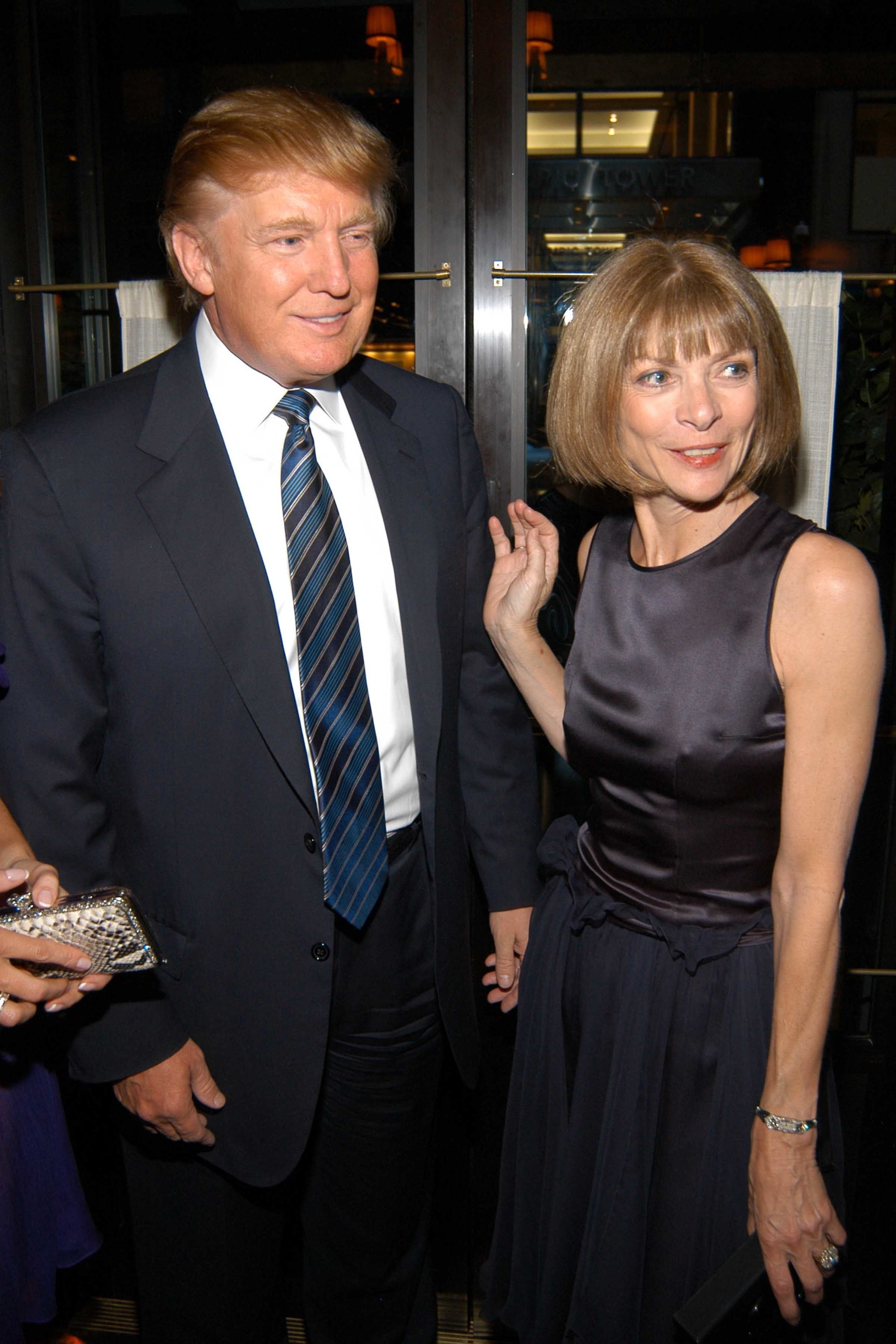 NEW YORK, NY - JUNE 7: Donald Trump and Anna Wintour attend MAC Cosmetics Hosts Launch Party for Andre Leon Talley's Book, ALT 365 at LaGrenouille on June 7, 2005 in NYC. (Photo by Neil Rasmus/Patrick McMullan via Getty Images)