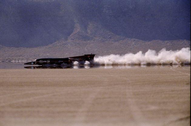 The Thrust SSC Land Speed Racer races down the Nevada desert