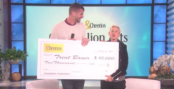 Trent Bauer receives $10,000 from Ellen and Cheerios.