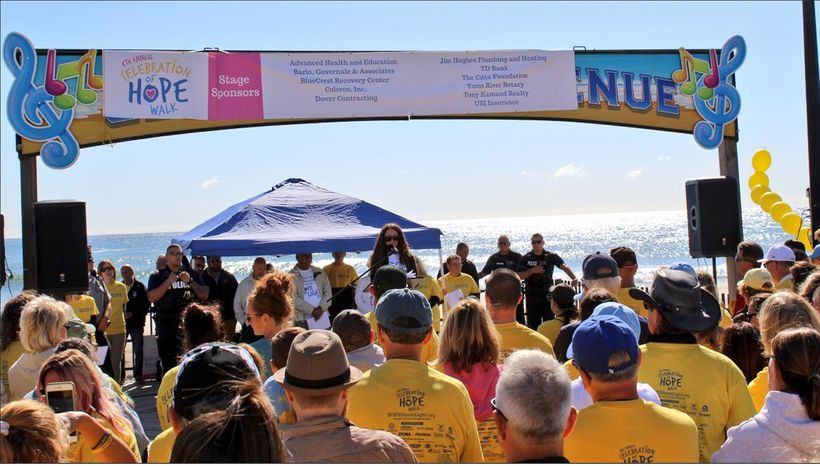 Alicia Cook speaking at the Celebration of HOPE walk in Seaside Hts, NJ. Over 2,000 people attended this awareness and recove