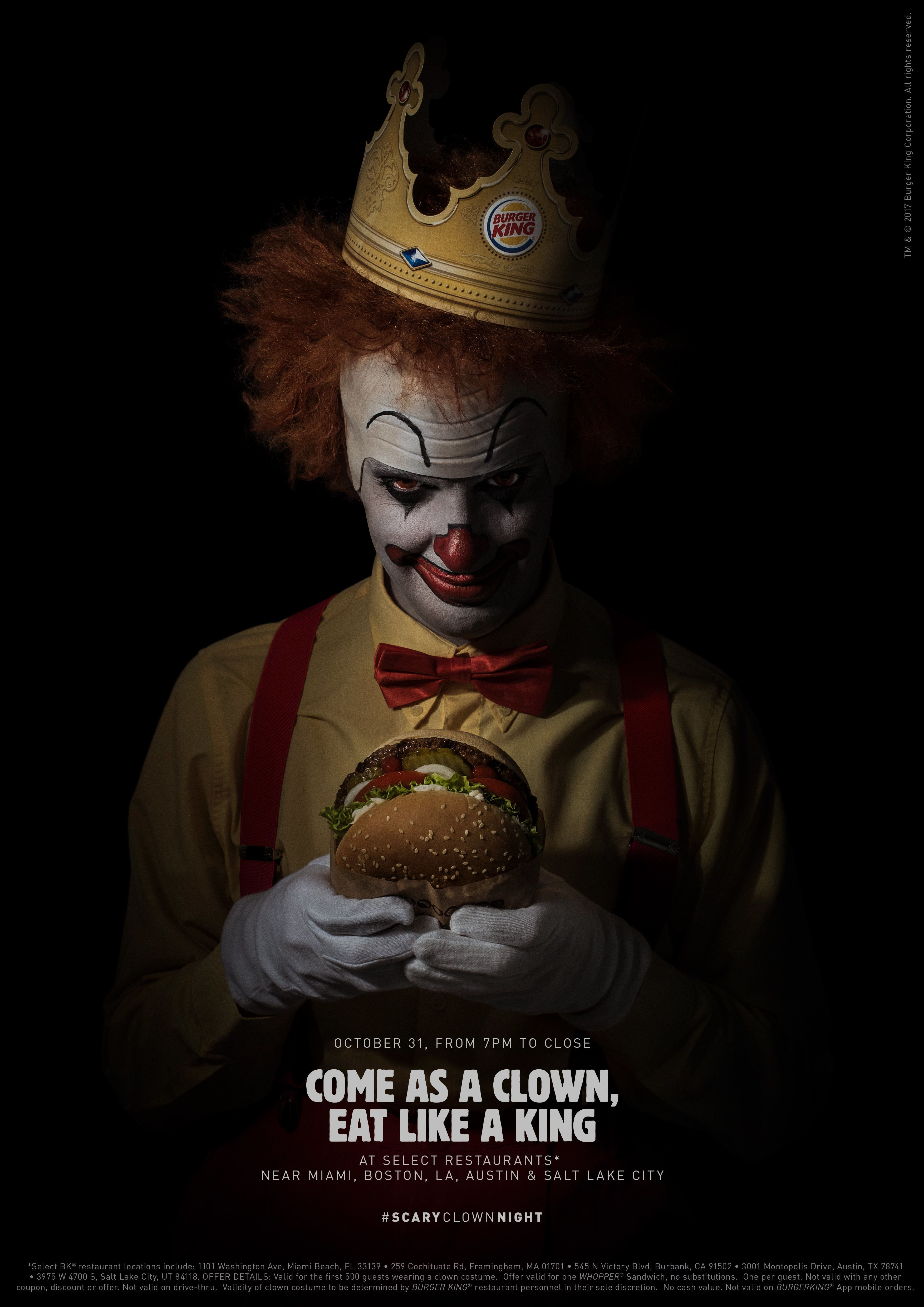 Select Burger King restaurants will hand out free Whopper sandwiches to people dressed like clowns this Halloween