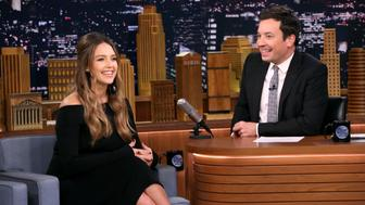 THE TONIGHT SHOW STARRING JIMMY FALLON -- Episode 0761 -- Pictured: (l-r) Actress Jessica Alba during an interview with host Jimmy Fallon on October 25, 2017 -- (Photo by: Andrew Lipovsky/NBC/NBCU Photo Bank via Getty Images)