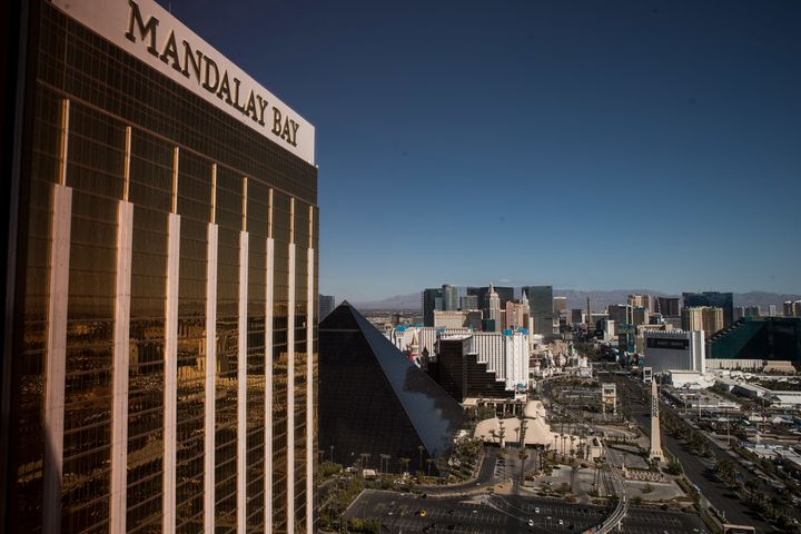 A view of the Mandalay Bay Resort and Casino, overlooking the Las Vegas Strip after a mass shooting at a music concert Octobe