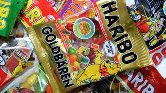 Fruit gums are pictured after the production process of 'Goldbaeren' fruit gums at the HARIBO candy factory on January 24, 2013 in Bonn, western Germany. AFP PHOTO / PATRIK STOLLARZ        (Photo credit should read PATRIK STOLLARZ/AFP/Getty Images)