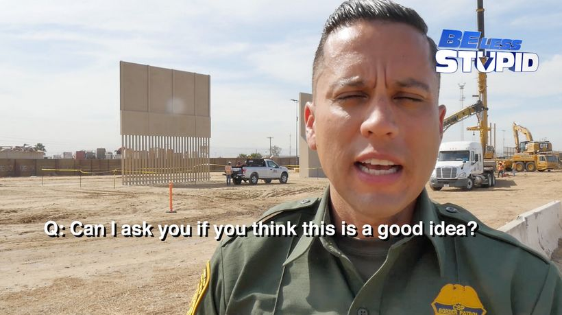 US Border Patrol officer, Eduardo Olmos in Otay Mesa, CA where construction is now complete on Trump's proposed Border Walls.