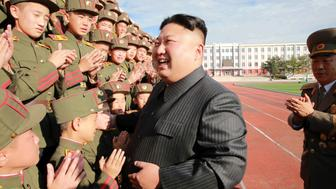 North Korea's leader Kim Jong Un visits the Mangyongdae Revolutionary Academy on its 70th anniversary, in this undated photo released by North Korea's Korean Central News Agency (KCNA) in Pyongyang October 13, 2017. REUTERS/KCNA   ATTENTION EDITORS - THIS PICTURE WAS PROVIDED BY A THIRD PARTY. REUTERS IS UNABLE TO INDEPENDENTLY VERIFY THE AUTHENTICITY, CONTENT, LOCATION OR DATE OF THIS IMAGE. NOT FOR SALE FOR MARKETING OR ADVERTISING CAMPAIGNS. NO THIRD PARTY SALES. NOT FOR USE BY REUTERS THIRD PARTY DISTRIBUTORS. SOUTH KOREA OUT. NO COMMERCIAL OR EDITORIAL SALES IN SOUTH KOREA. THIS PICTURE IS DISTRIBUTED EXACTLY AS RECEIVED BY REUTERS, AS A SERVICE TO CLIENTS.