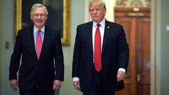 WASHINGTON, DC - OCTOBER 24:  Senate Majority Leader Mitch McConnell (R-KY) (L) and U.S. President Donald Trump arrive for the Republican Senate Policy Luncheon at the U.S. Capitol October 24, 2017 in Washington, DC. Trump joined the senators to talk about upcoming legislation, including the proposed GOP tax cuts and reform.  (Photo by Chip Somodevilla/Getty Images)